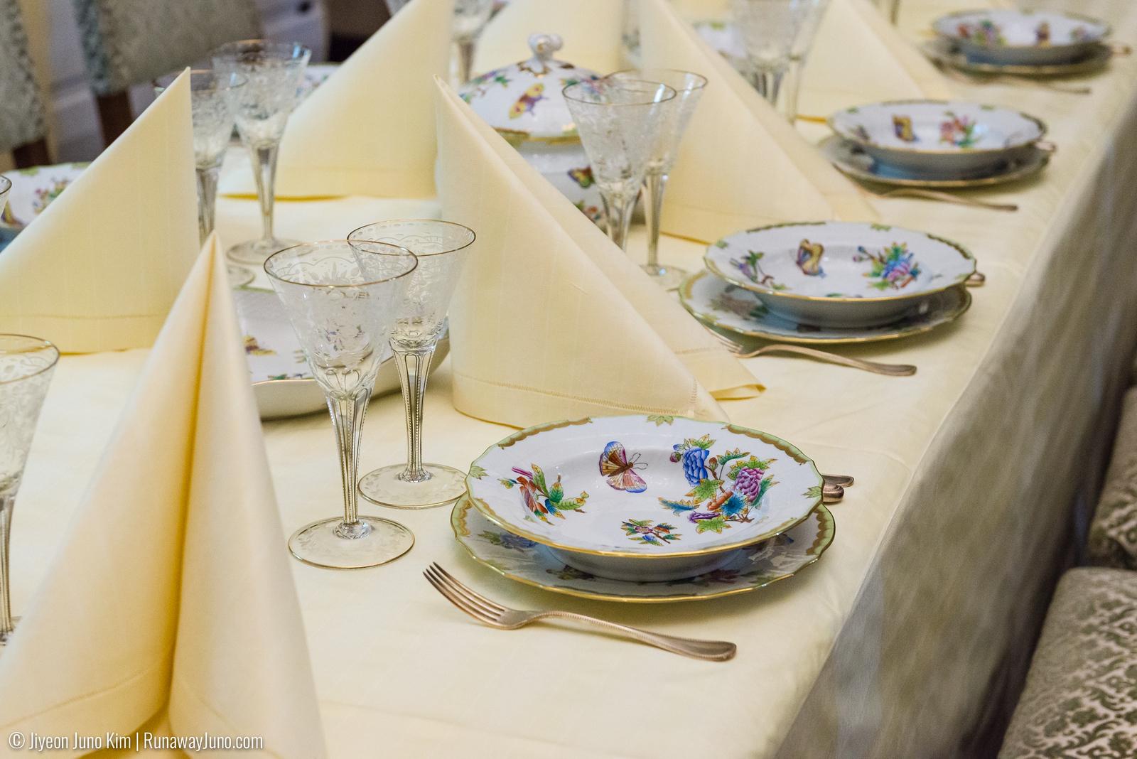 Precious china and glasses at the main dining room