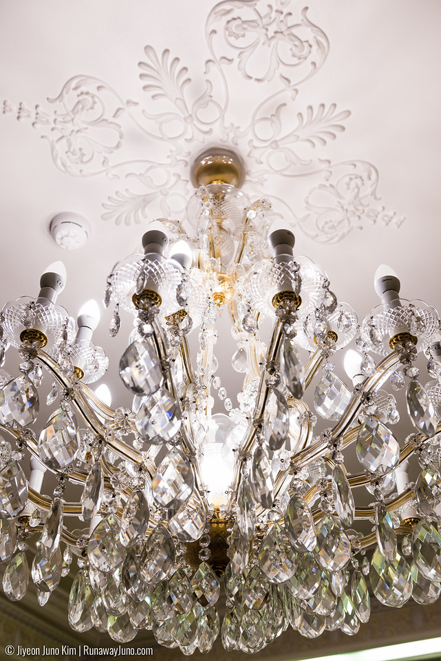 Each room features different styles of chandelier