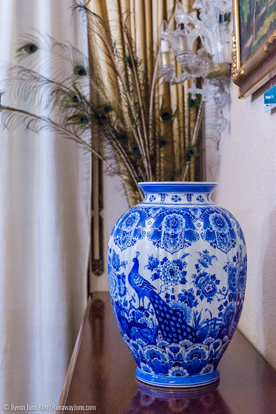 A pottery with peacock decoration