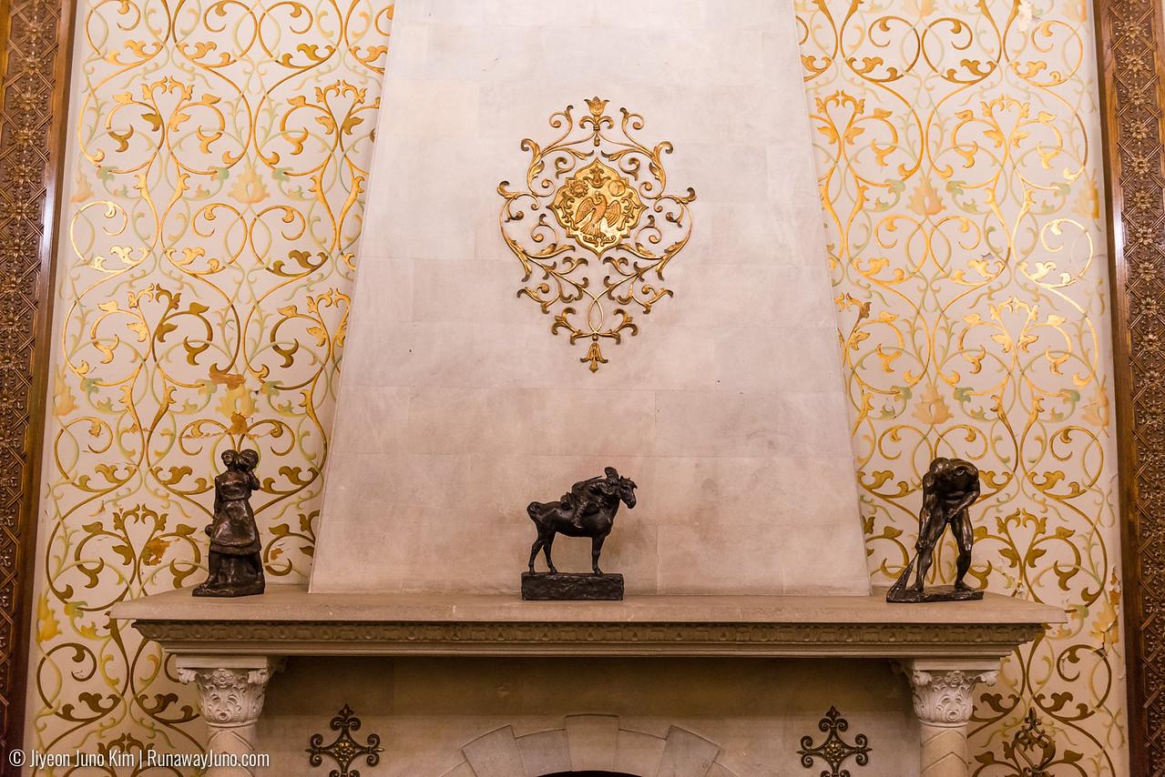 Three sculptures in wine cellar