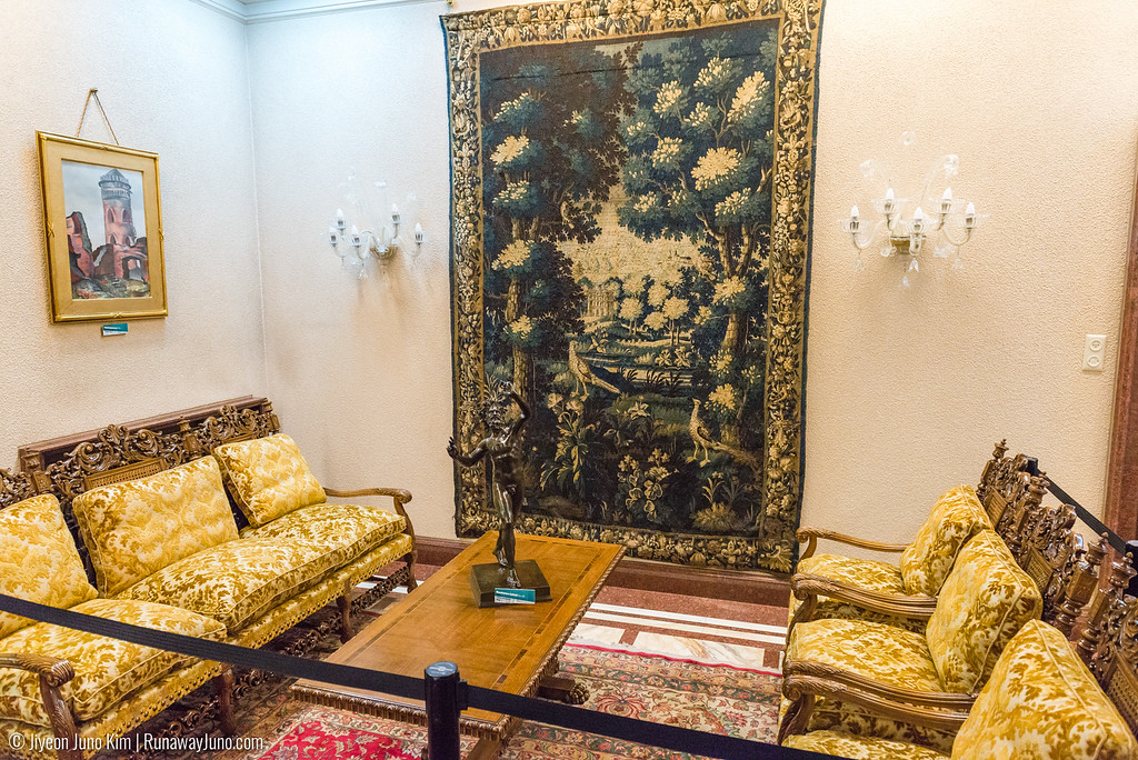A 15th century tapestry, made made in Paris was a gift from General Charles de Gaulle