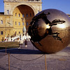 """""""Sphere Within Sphere"""" by Amaldo Pomodoro, 1990, in the center of the Cortile della Pigna. One of a large series of similar sculptures in prominent public spaces, including the UN headquarters in NYC and the Hirshhorn Museum in Washington DC."""