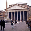 The Pantheon. Originally a temple for Roman gods. The dome has a hole in the top, allowing natural light (and rain!) into the rotunda.