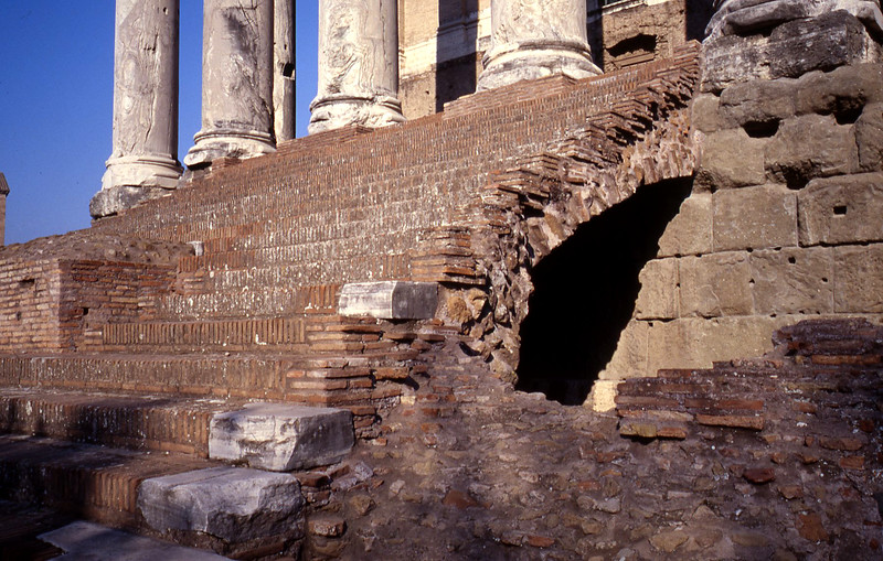 Arches are integral to construction. Brick shielded the concrete from rain, and the brick was covered with the cut stone.