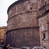 Rear view of the Pantheon. You can see the brick structural arches at the top of the wall to support the weight of the dome.