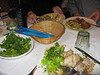 The food at Macharroni's.  Tortellini, chicken catchetore, and meat balls!