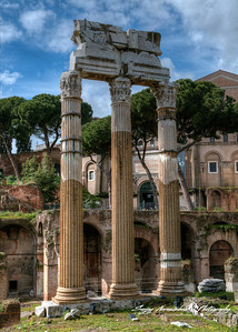 Columns of the Temple of Venus Genetrix in the Roman Forum, Rome, Italy, March 11, 2013