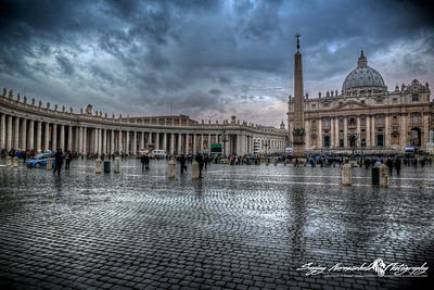St Peters Square hours before the selection of Pope Francis I during sunset, Vatican City, March 13, 2013