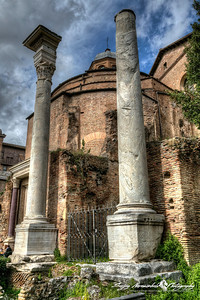 Columns near Temple of Romolus (Tempio di Romolo) and Santi Cosma e Damiano, Roman Forum, Rome, Italy, March 11, 2013