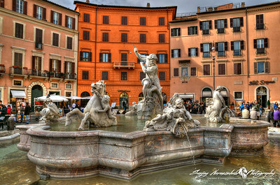 Neptune Fountain Plaza Navona, Rome, Italy, March 14, 2013