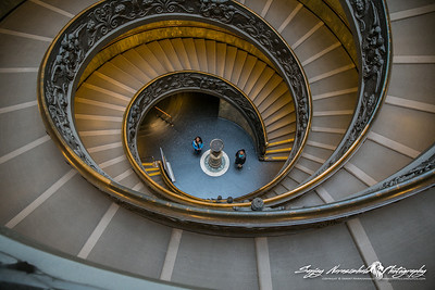 The Vatican Museums spiral staircase with Kethan & Vasantha, Vatican City, March 13, 2013