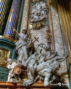 Chiesa del Gesu - St. Ignatius Chapel - Religion defeats heresy, Rome, Italy, March 11, 2013