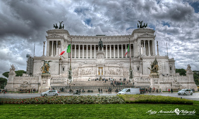"The Altare della Patria (Altar of the Fatherland) also known as the Monumento Nazionale a Vittorio Emanuele II (National Monument to Victor Emmanuel II) or ""Il Vittoriano"" is a monument built in honour of Victor Emmanuel, the first king of a unified Italy,Rome, Italy, March 11, 2013"