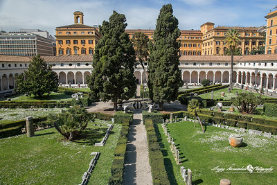 Roman Museum courtyard, Rome, Italy. March 14, 2013