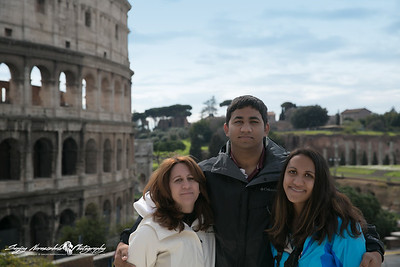 Darlene, Kethan & Vasantha at the Colosseum, Rome, Italy, March 15, 2013