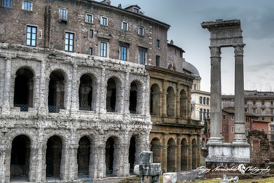 Theater of Marcellus (Latin: Theatrum Marcelli, Italian: Teatro di Marcello) is an ancient open-air theater in Rome, Italy, March 15, 2013