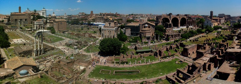 Wide angle panorama of the Forum, Rome.