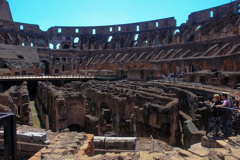 Inside the Colusseum. The original floor is gone, revealing the service chambers below.