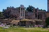 Ground view of forum with Palatine Hill in the Background.