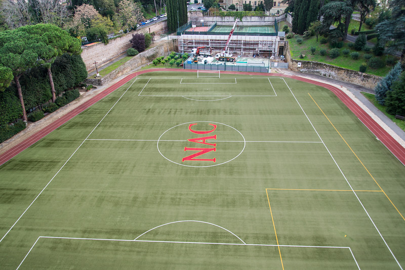 Rome - Pontifical North American College, rooftop view: soccer field