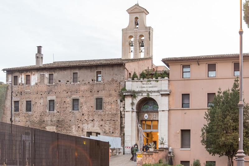 Rome - Basilica of Santi Cosma e Damiano, entrance