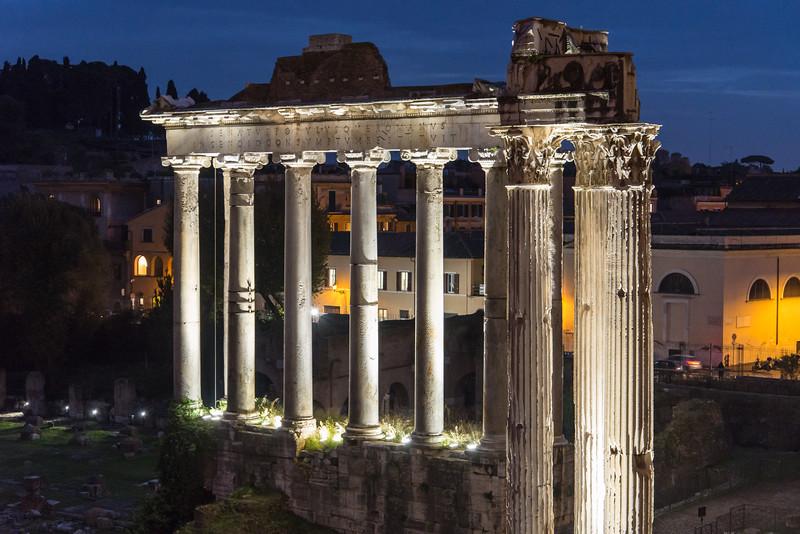 Rome - ruins near Basilica of Santi Cosma e Damiano, entrance