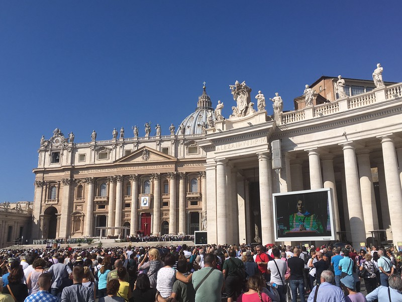 At a papal mass in St Peters Square.