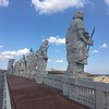 Up on top of St Peters behind the statues on the facade.