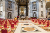 Vatican City - St. Peter's Basilica, the papal altar and chairs for cardinals