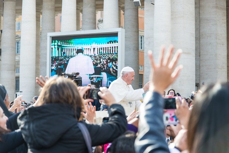 Rome - St. Peter's Square, Pope Francis greets the crowd after Mass