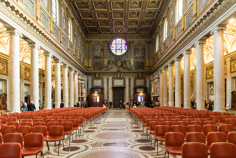 Rome - Basilica of St. Mary Major, the nave looking toward the entrance