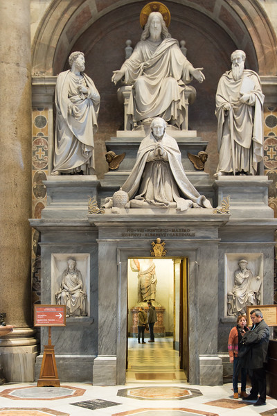 Vatican City - St. Peter's Basilica, monument to Pius XII and entrance to sacristy