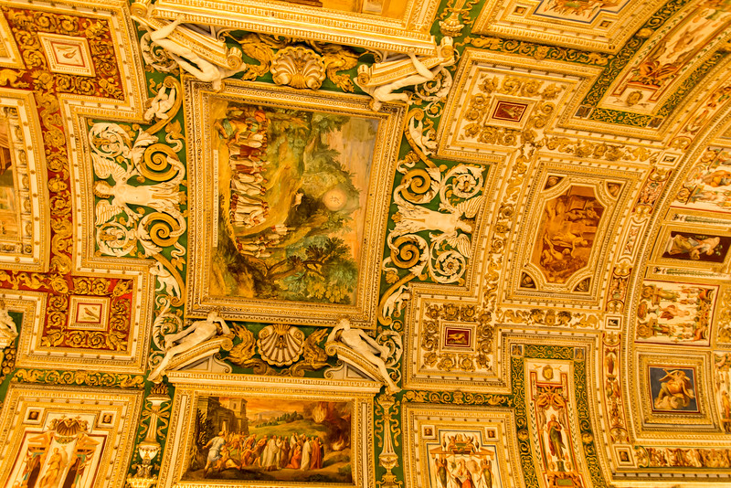 Vatican City - Vatican Museum tapestry display ceiling