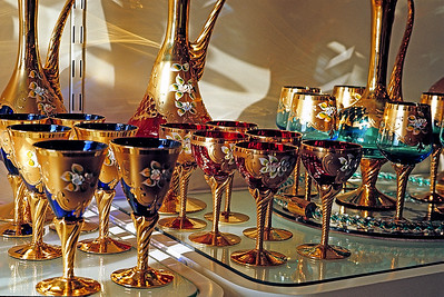 October 9th-11th, 1970 /  Venice trip:  After a ten-minute ride on the lagoon ferry, we arrived on nearby Murano, an island which seemed to be a miniature version of Venice. The main attraction was a glass-blowing factory. Gaudy goblets anyone?