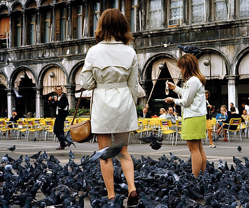 October 9th-11th, 1970 /  Venice trip:  Piazza San Marco. Pigeon feeding can be fun…if you have the head for it. :-)