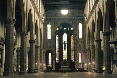 October 30th to November 1st, 1970 / Florence trip:   Santa Croce, where many famous Italians such as Michelangelo, Galileo, Machiavelli, and Rossini are buried (note the grave markers on the floor; the more famous individuals have their own altars on the sides of the church).