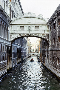 October 9th-11th, 1970 / Venice trip: The Bridge of Sighs passes over the Rio di Palazzo and connects the New Prison to the interrogation rooms in the Doge's Palace. The bridge's name, given by Lord Byron in the 19th century, comes from the suggestion that prisoners would sigh at their final view of beautiful Venice through the window before being taken down to their cells.