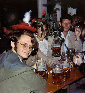 """September 24th-27th, 1970 / Oktoberfest Trip:  Tim Redman,  Anita Quish, Carol Landini, and I met up with a trio of interesting Germans who escorted us out of the """"overly commercialized sham-like"""" Oktoberfest and into an alleged proper German beer hall."""