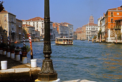 October 9th-11th, 1970 /  Venice trip: The Grand Canal and a vaporetto, one of the city's water buses. This was the 1st trip I took with my new single lens reflex camera, a Minolta SRT-101 purchased from Romolo, a local Italian who set up shop at the school on Friday's to process our film at a discount price.