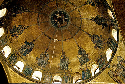 October 9th-11th, 1970 /  Venice trip:  Inside the famous St. Mark's Cathedral. The inner side of the copula showing the twelve Apostles after the Holy Spirit visited them.