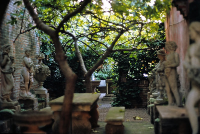 """October 9th-11th, 1970 /  Venice trip: A cozy courtyard on the island of Torcello where St. Thomas Aquinas was believed to have drunk red wine whenever he was """"in town"""" eight-hundred-and-fifty years ago."""