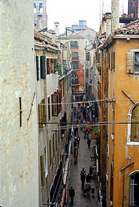 October 9th-11th, 1970 /  Venice trip:  View of St. Mark's from our pensioni. The Venetian streets were deliciously narrow. One can see why motor vehicles were prohibited on the island.