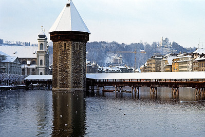 December 18-24, 1970 / Lucerne trip:   The old Mill Bridge on the town's Reuss River dates back over 600 years..