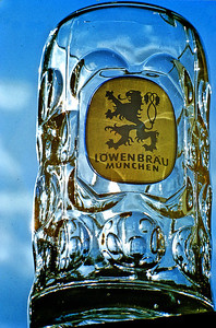 """September 24th-27th, 1970 / Oktoberfest Trip:  A """"liberated"""" and much-valued Löwenbraü liter-sized glass mug.  (Photo courtesy of Ken Barnes)"""