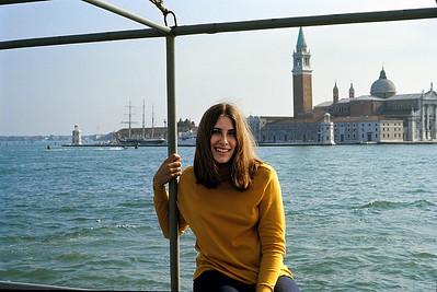 October 9th-11th, 1970 / Venice trip:  Selene posing for me as we take a boat to the Lido di Venezia.