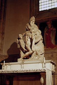 October 30th to November 1st, 1970 / Florence trip: One of Michelangelo's four Pietás, with the most famous one being at St. Peter's in Rome. In this one, in the Florence Cathedral, the Master had sculpted his own face onto the bearer of Jesus.