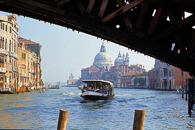 October 9th-11th, 1970 / Venice trip: A farewell view from under one of the three main Venetian bridges. That vaporetto looks pretty full ... which makes me wonder if the Grand Canal had a car pool lane?