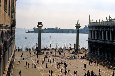 October 9th-11th, 1970 / Venice trip:  From Piazza San Marco, a view of the northern edge of the Lido, a 6 1/2 mile sandbar, that among other things, protects Venice from the sea. At least half the Adriatic side of the island is a sandy beach, which I visited with Selene Van Vleck on Sunday afternoon.