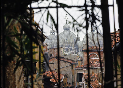 """October 9th-11th, 1970 /  Venice trip:  View of St. Mark's from our pensioni. I found myself in a suite composed of three small rooms with several beds and several guys. It was shabby and dark, with mattresses that sank so deep from bodyweight, I later characterized that first night as """"sleeping in a hot dog bun."""""""