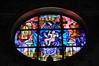 One of the stained glass windows inside Basilica di Santa Maria Maggiore